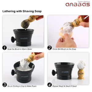 Anbbas Shaving Mug Man's Plastic Shaving Bowl with Handle Soup Bowl Barber Cleaning Soup Cup for Razor