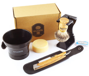 7in1 Set,Shaving Brush,Stand,Soap and Bowl,Straight Razor&Bag,10pcs Blades Kit