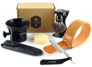 7in1 Shaving Brush Set with Stand,Mug,Soap,Razor&Bag,Razor Strop Kit for Men