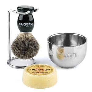 Shaving Set, 4in1 Anbbas Men Fine Badger Bristle Shave Brush Black Wood Handle,Stainless Steel Shaving Stand and Soap Cup with Shaving Soap Bar Natural Organic for Perfect Wet Shaving