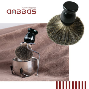 3in1 Black Shaving Brush with Holder and Shaving Soap Bowl for Shaving Set