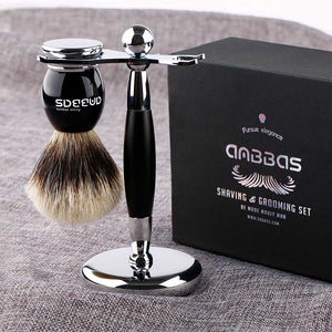 Anbbas Quality Chrome Shaving Stand for Men's Shaving Brush and DE Butterfly Safety Razor Gillette Fusion ProGlide Razor Close Shave Set