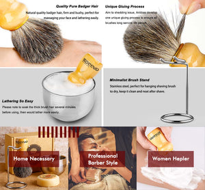 4in1 Shaving Set,Shave Brush,Stand and Bowl with Soap Bar for Men