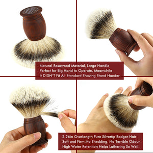 "4.9"" Silvertip Badger Hair Shaving Brush with Rosewood Handle"
