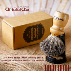Anbbas Barber Style Traditional Badger Shaving Brush with Solid Wooden Handle for Men Butterfly DE Straight Razor Close Shave Kit