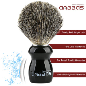 Barber Style Badger Shaving Brush with Wooden Handle
