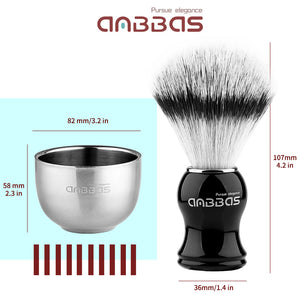 4IN1 Faux Badger Brush with Shaving Soap and Bowl,Black Stand Holer for Razor