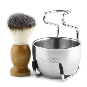 Anbbas Shaving Brush Set for Men 3in1 Vegan Style Synthetic Badger Hair Shaving Brushes, Stainless Steel Shaving Stand + Bowl Perfect for Wet Close Shave