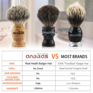 Anbbas Shaving Brush, Handmade Pure Badger Hair Brush with Natural Manchurian Ash Wood Handle for Men Traditional Wet Shaving Starer