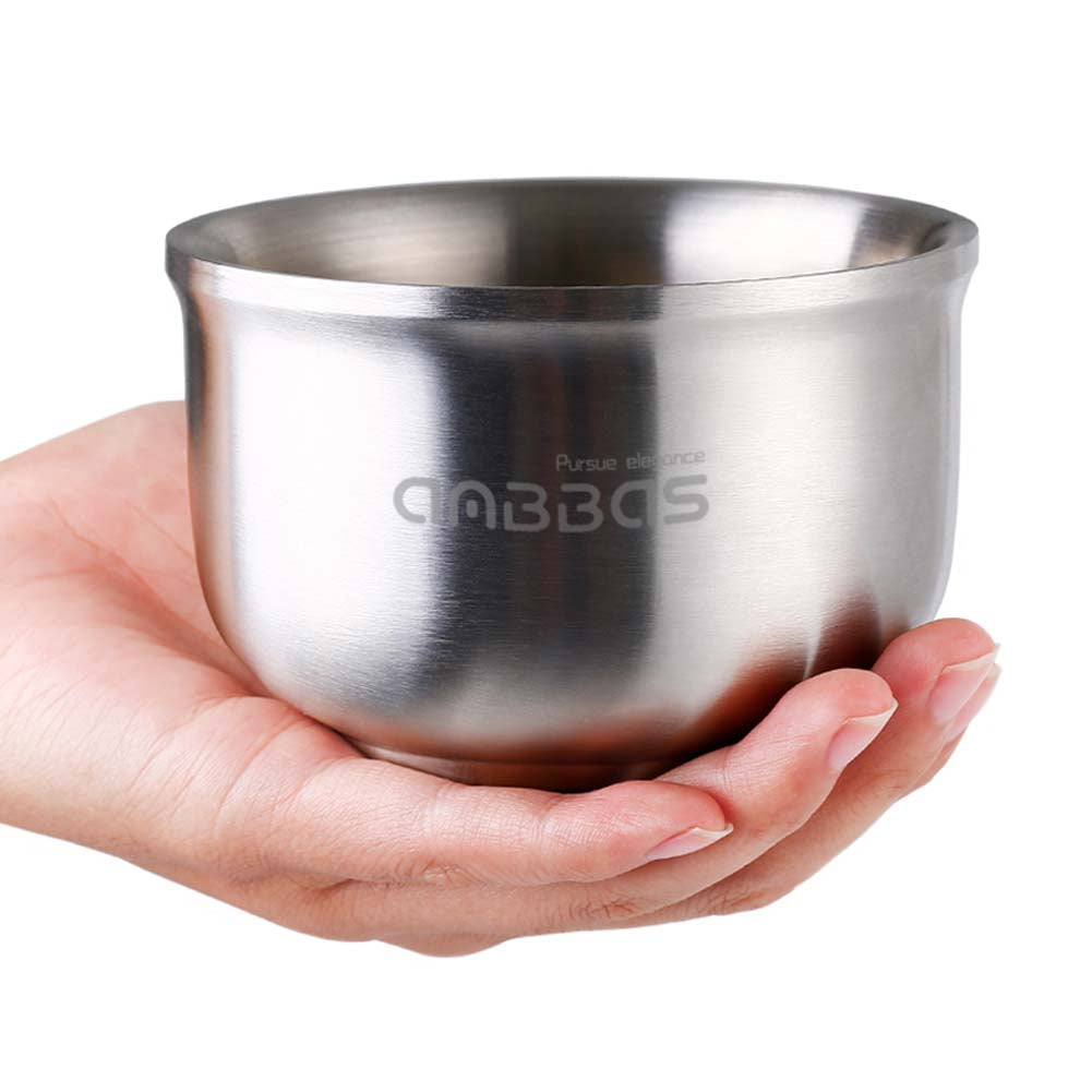 Anbbas Shaving Bowl, Quality 304 Stainless Steel 3 Layers Soap Bowl, Keep Shaving Foam Warm for Men Women Closest Wet Shave