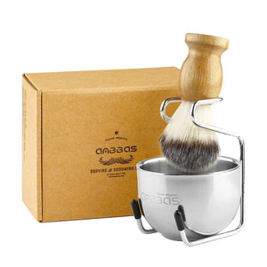 3IN1 Synthetic Shaving Brush Set,Shaving Stand + Bowl Perfect for Men Gift Idea