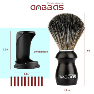 3IN1 Shaving Brush Set with Black Holder Stand Travel Case