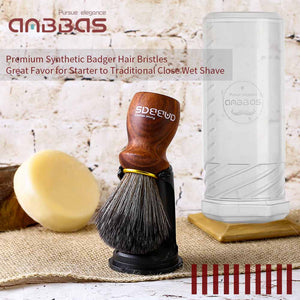Synthetic Badger Hair Shaving Brush Set with Black Holder Stand Travel Case, 3in1 Anbbas Rare Blood Ebony Handle Foam Brush Shaving Kit for Men Wet Shave