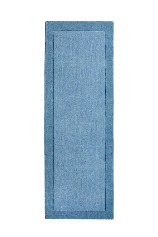 Borders Modern Wool Rug - Denim Blue
