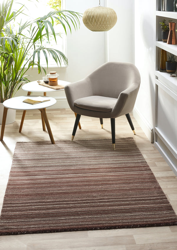 Fine Stripes Modern Wool Rug - Natural