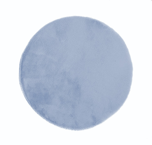 Lustrous Faux Fur Circle Rug - Blue Breeze