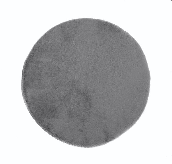 Lustrous Faux Fur Circle Rug - Thunder Grey