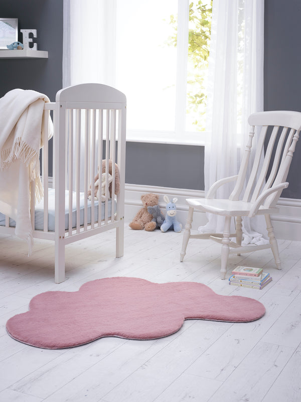 Lustrous Faux Fur Cloud Rug - Blush  Pink