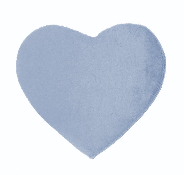 Lustrous Faux Fur Heart Rug - Blue Breeze