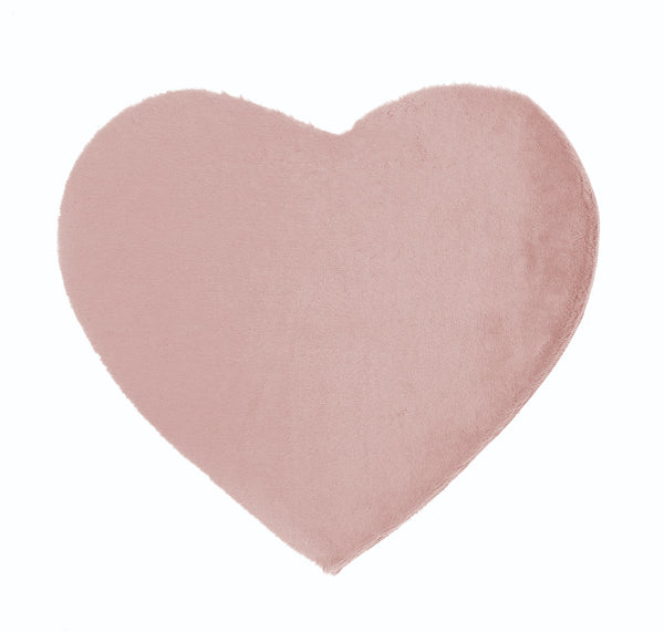 Lustrous Faux Fur Heart Rug - Blush Pink