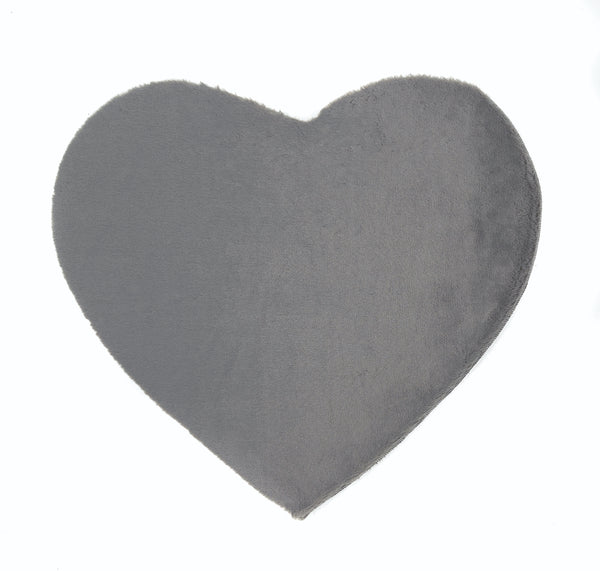 Lustrous Faux Fur Heart Rug - Thunder Grey