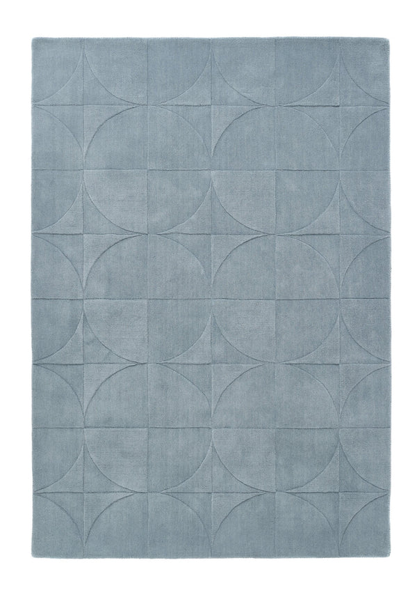 Penny Geometric Modern Wool Rug -  Steel Blue