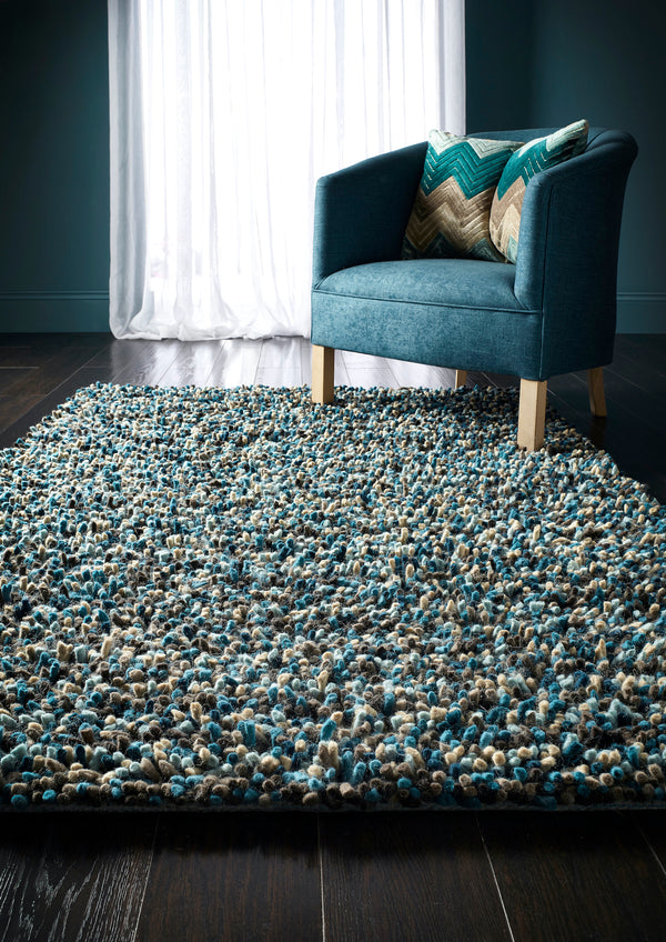 Rocks Shaggy Wool Rug - Blue