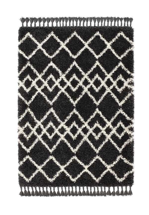 Shaggy Moroccan Style Rug - Charcoal  Ivory