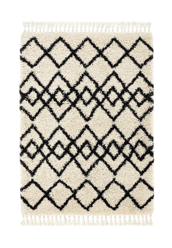 Shaggy Moroccan Style Rug - Ivory  Charcoal