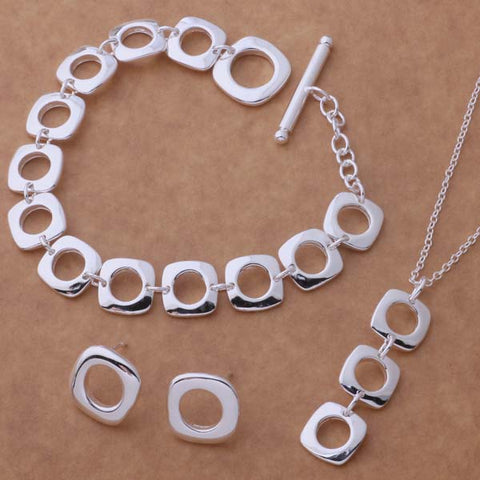 AS039 Hot  sterling   Jewelry Sets Earring 239 + Necklace 239 + Bracelet 163 /abvaitca aiiaizpa silver color