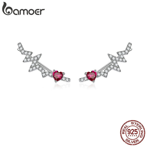 bamoer Authentic 925 Sterling Silver Long Stud Earrings for Women Pink CZ Heartbeat Luxury Wedding Statement Jewelry SCE819
