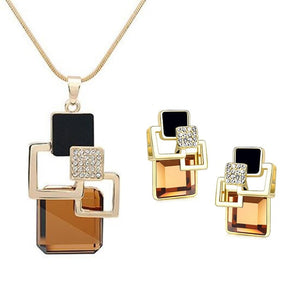 Classic Geometric Square Crystal Jewelry Sets For Women Vintage Party Stud Earrings And Pendant Necklace For Gifts