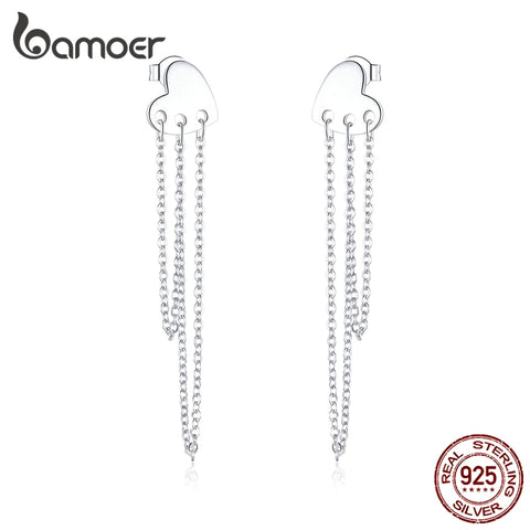 bamoer Authentic 925 Sterling Silver Punk Heart Long Chain Tassel Dangle Earrings for Women Unique Stylish Brincos SCE867