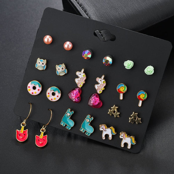 12 PCS/SET Lollipop&alpaca&Unicorn shape Earring Set For Girls Crystal Statement Earring Jewelry Metal Wedding Earrings ER200108