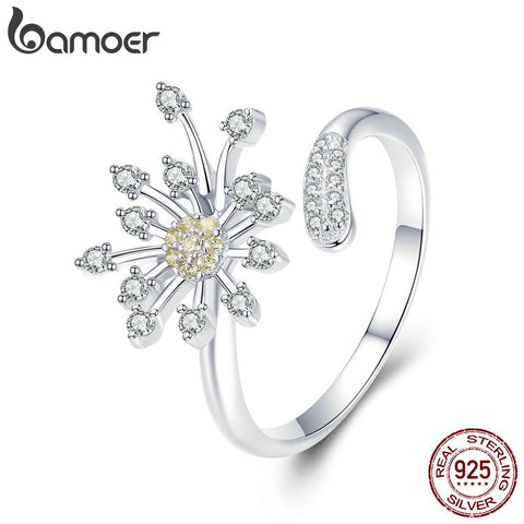 BAMOER Authentic 925 Sterling Silver Blooming Dandelion Love CZ Adjustable Rings for Women Wedding Engagement Jewelry SCR471