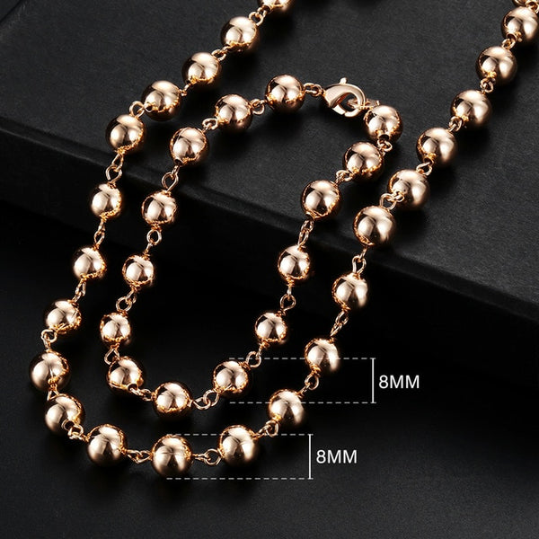 Men Women's Jewelry Set 585 Rose Gold Bracelet Necklace Set Double Curb Cuban Weaving Bismark Chain 2018 Wholesale Jewelry KCS04