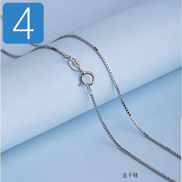 Trustdavis Genuine 925 Sterling Silver Water-wave Snake Box Chain For Woman 40cm/45cm 0.7/0.8mm Chain Necklace DC06