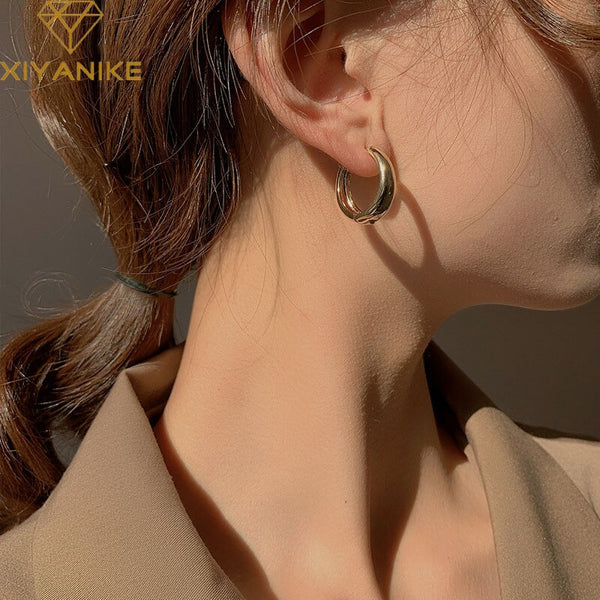 XIYANIKE Prevent Allergy 925 Sterling Silver Earrings for Women Couples Minimalist Geometric Ear Hoops Party Jewelry Gifts