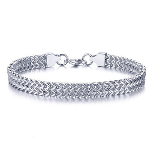 STYLISH STAINLESS STEEL BALI FOXTAIL CHAIN BRACELET FOR MEN DOUBLE LINK CHAIN BRACELETS ARMBAND MALE JEWELRY
