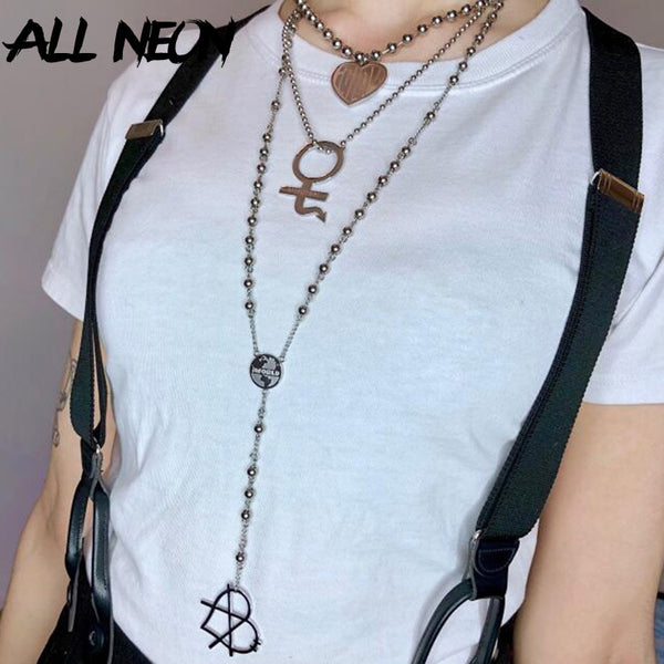 ALLNeon Punk Style Stainless Steel Long Necklaces Y2K Strand Heart Suspension Beads E-girl's Accesories Fashion Necklaces 2020