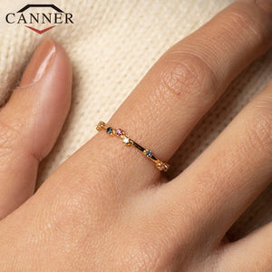 CANNER 925 Sterling Silver Rings for Women Cute Zircon Round Ring 925 Silver Wedding Fine Jewelry Minimalist Gift anillos