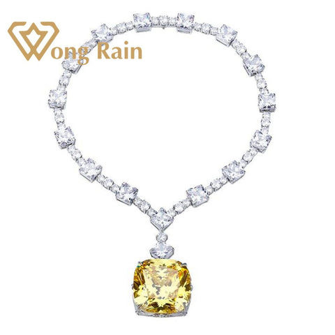 Wong Rain 100% 925 Sterling Silver Created Moissanite Citrine Gemstone Wedding Cocktail Pendent Necklace Fine Jewelry Wholesale