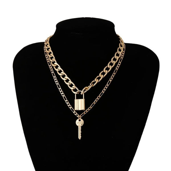 Lacteo Dark Gothic Big Lock Key Angel Pendant Necklace Punk Hip Hop Three Style Choker Necklace Jewelry for Men and Women Gift
