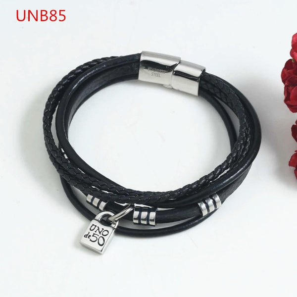 New Arrival Fashion Women Men Silver Color Gold Stainless Steel Roud Ball Bead key Uno de 50 Lock Weave Chain Bracelet Jewelry