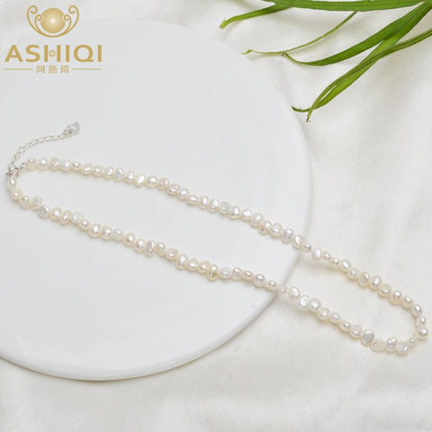 ASHIQI 4-5mm Natural Freshwater Pearl Choker Necklace Baroque pearl Jewelry for Women with 925 Silver Clasp Wholesale