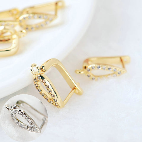 4PCS 11x12MM 24K Gold Color Brass with Zircon Earring Clasp Stud Earring High Quality DIY Jewelry Making Findings Accessories