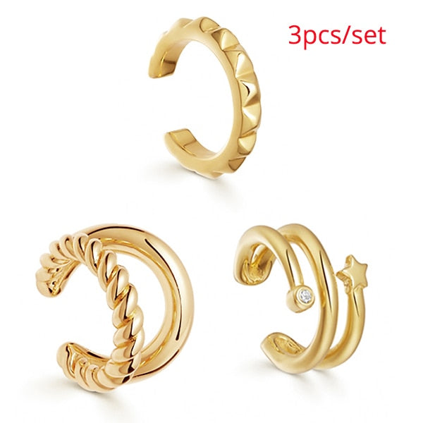 Trendy Pearl Clip on Earrings Earcuffs for Women Gold Color C Shaped Stackable CZ Ear Cuff No Pierced Party Wedding Jewelry 2020