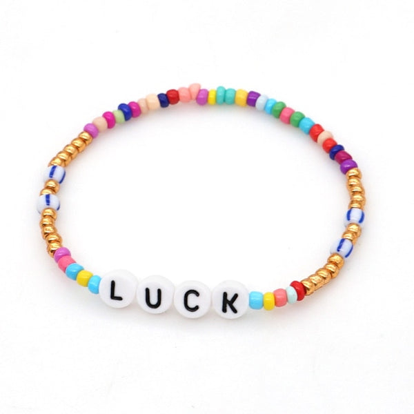 HUANZHI 2020 New Harajuku Punk Smiley Peach Heart Letter Acrylic Elastic Bead Bracelet for Women Gifts Accessories Jewellery