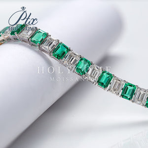 2020 new design custom bracelet white emerald cut moissanite and green diamondgemstone Серьги кольцо браслет кольца браслеты ьги