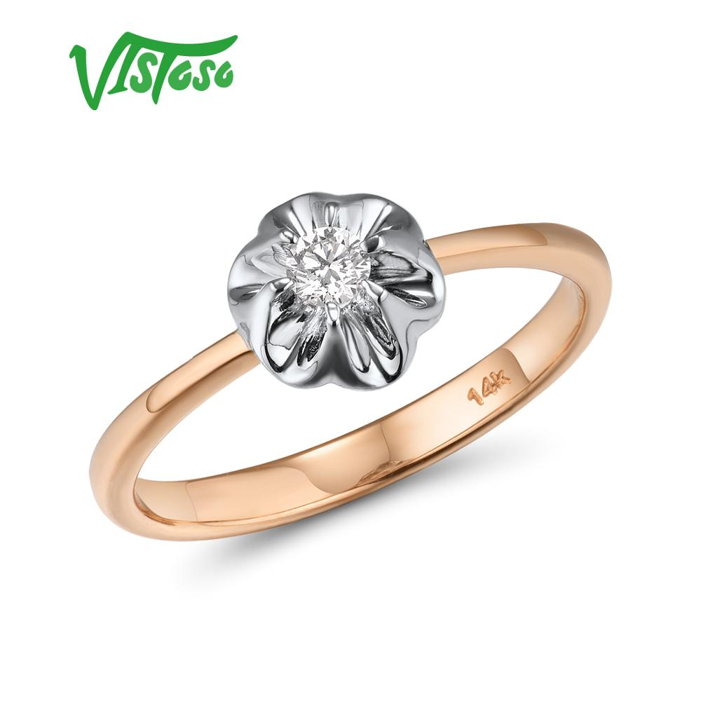 VISTOSO Pure 14K 585 Two Tone Gold Sparkling Diamond Delicate Ring For Women Anniversary Engagement Fashion Trendy Fine Jewelry